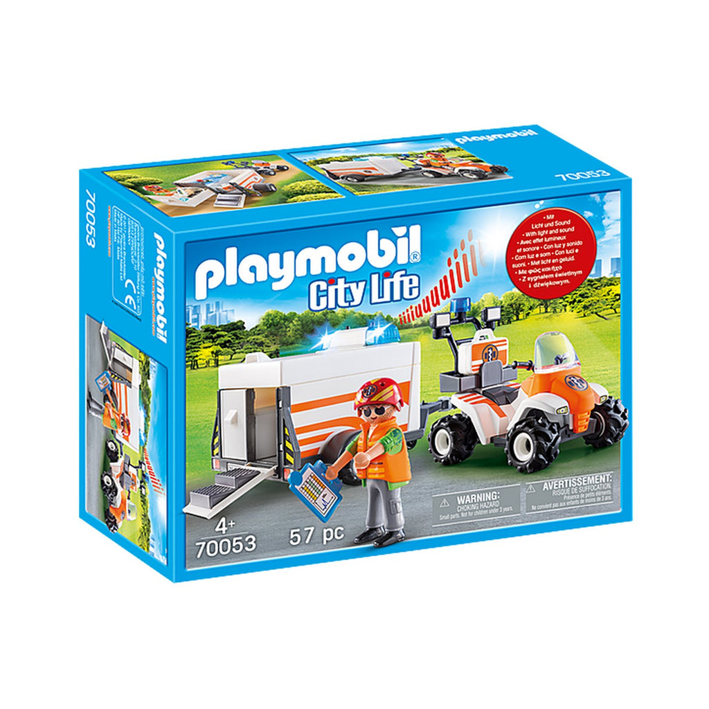 Playmobil City Life Rescue Quad With Trailer Building Set 70053