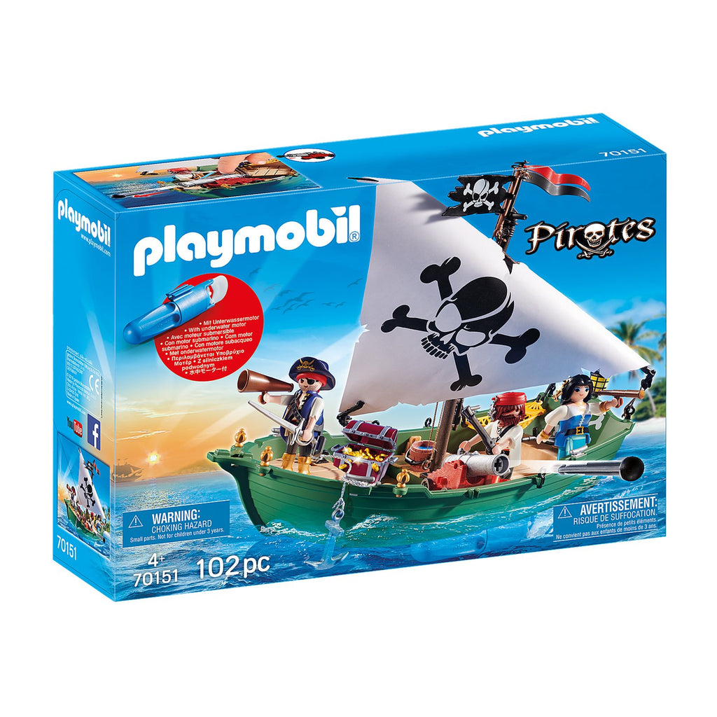 Playmobil Pirates Pirate Ship With Underwater Motor Building Set 70151