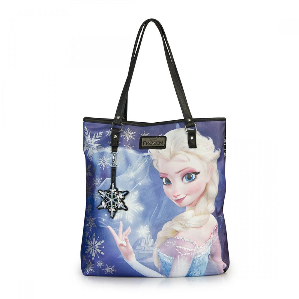 Disney Frozen Elsa Photo Real Canvas With Faux Leather Tote