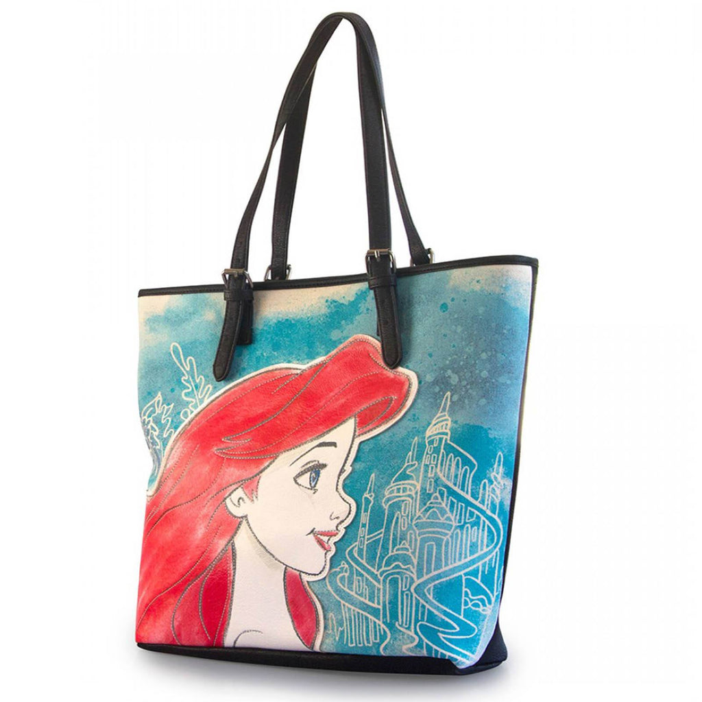 Disney Little Mermaid Ariel Printed Faux Leather Tote Bag
