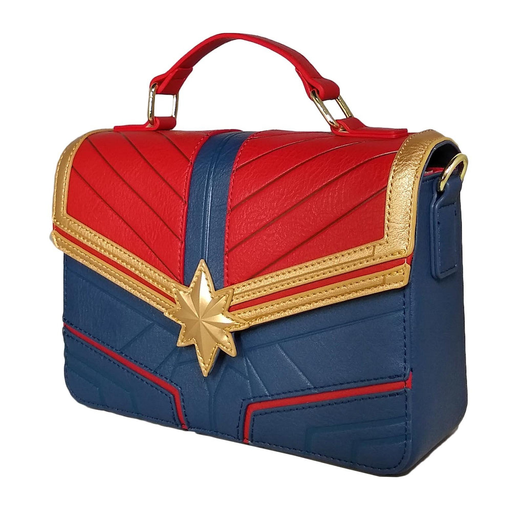 Purses - Loungefly Captain Marvel Debossed Suit Crossbody Bag