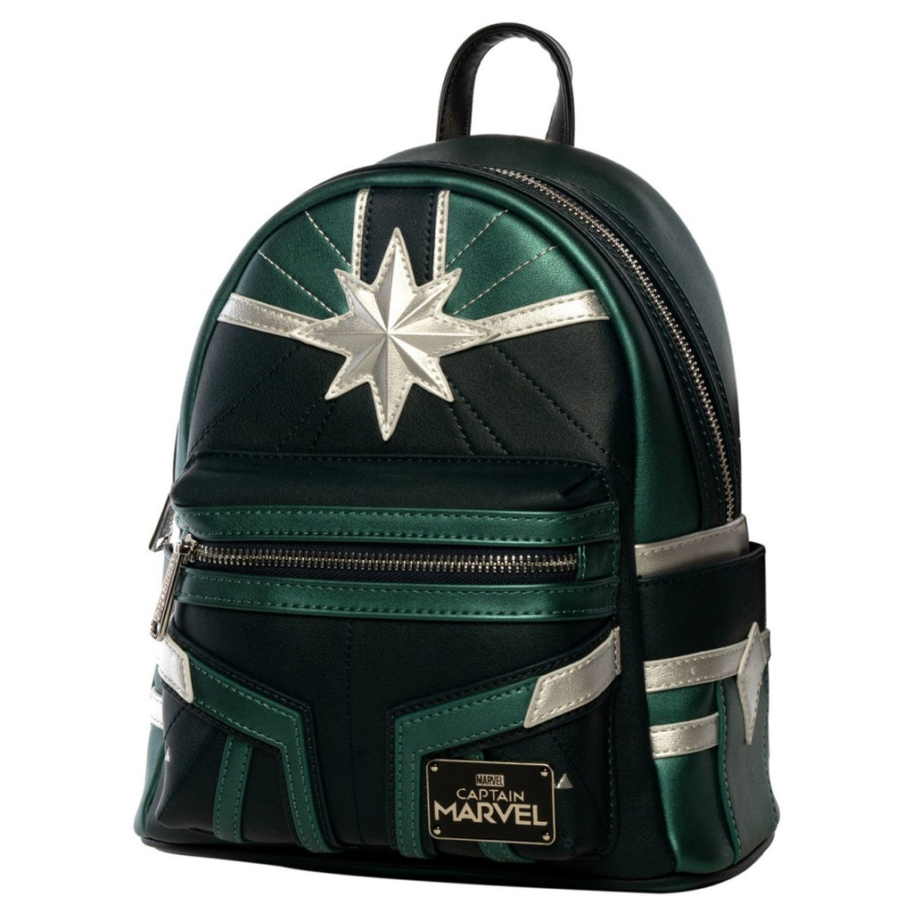 Loungefly Captain Marvel Green Suit Print Mini Backpack