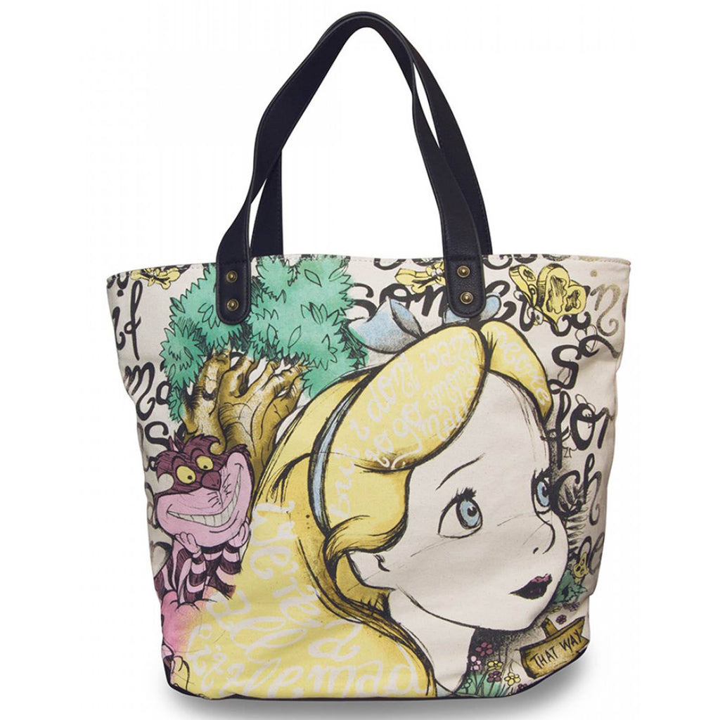 Loungefly Disney Alice And Cheshire Cat Canvas Tote Bag