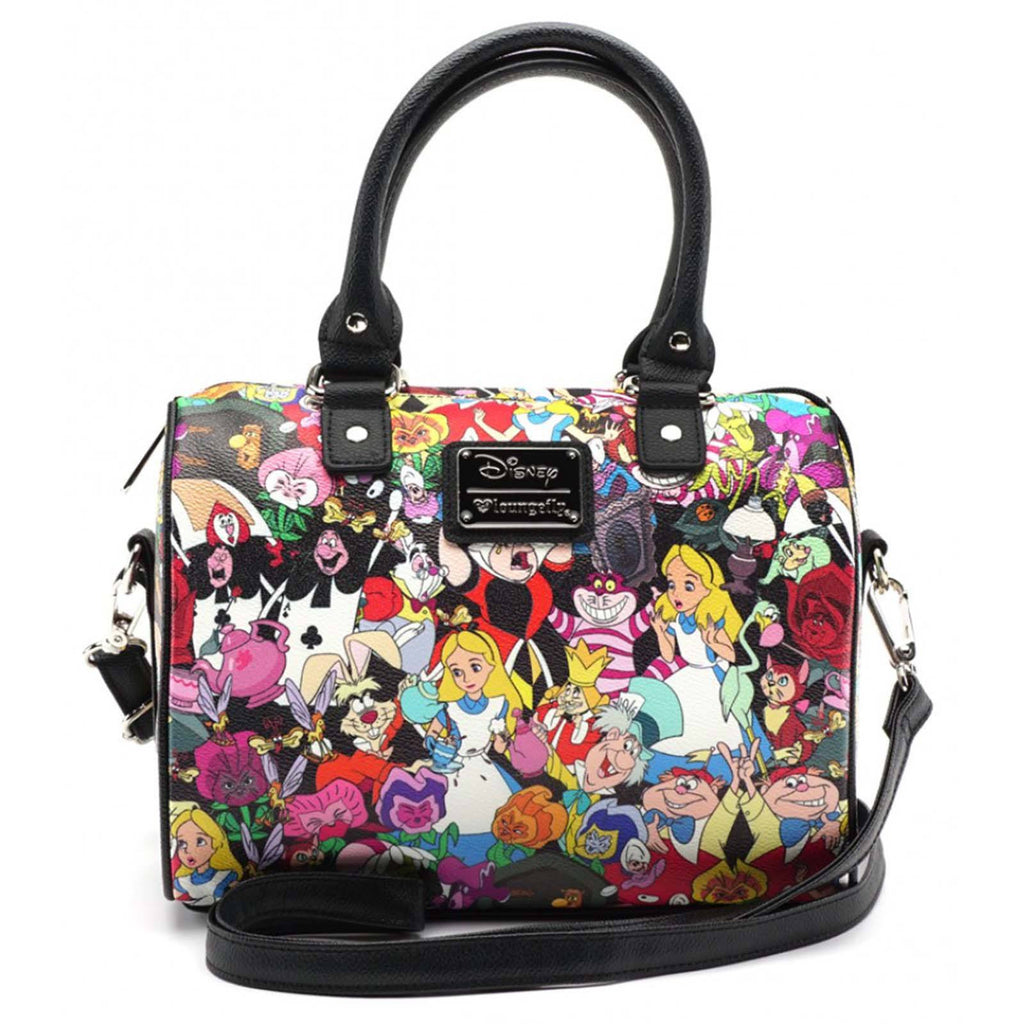 Loungefly Disney Alice In Wonderland Character All Over Print Duffle Purse Bag