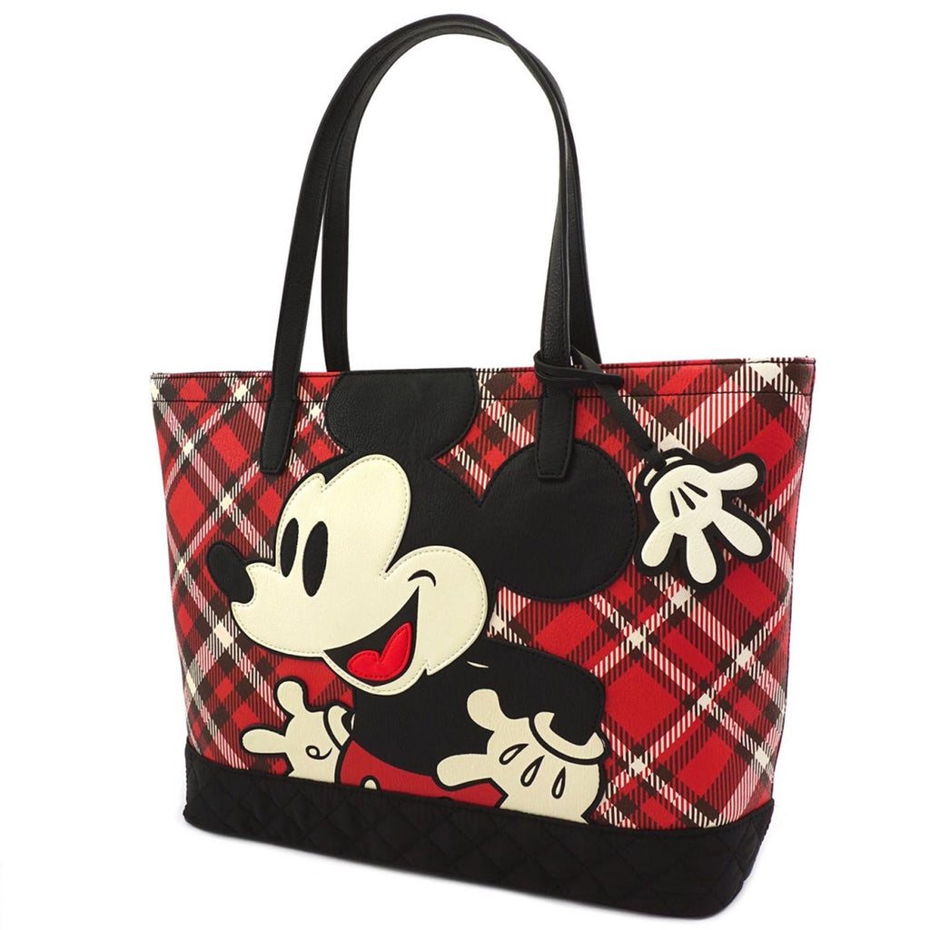 Loungefly Disney Mickey Mouse Plaid Tote Bag Purse