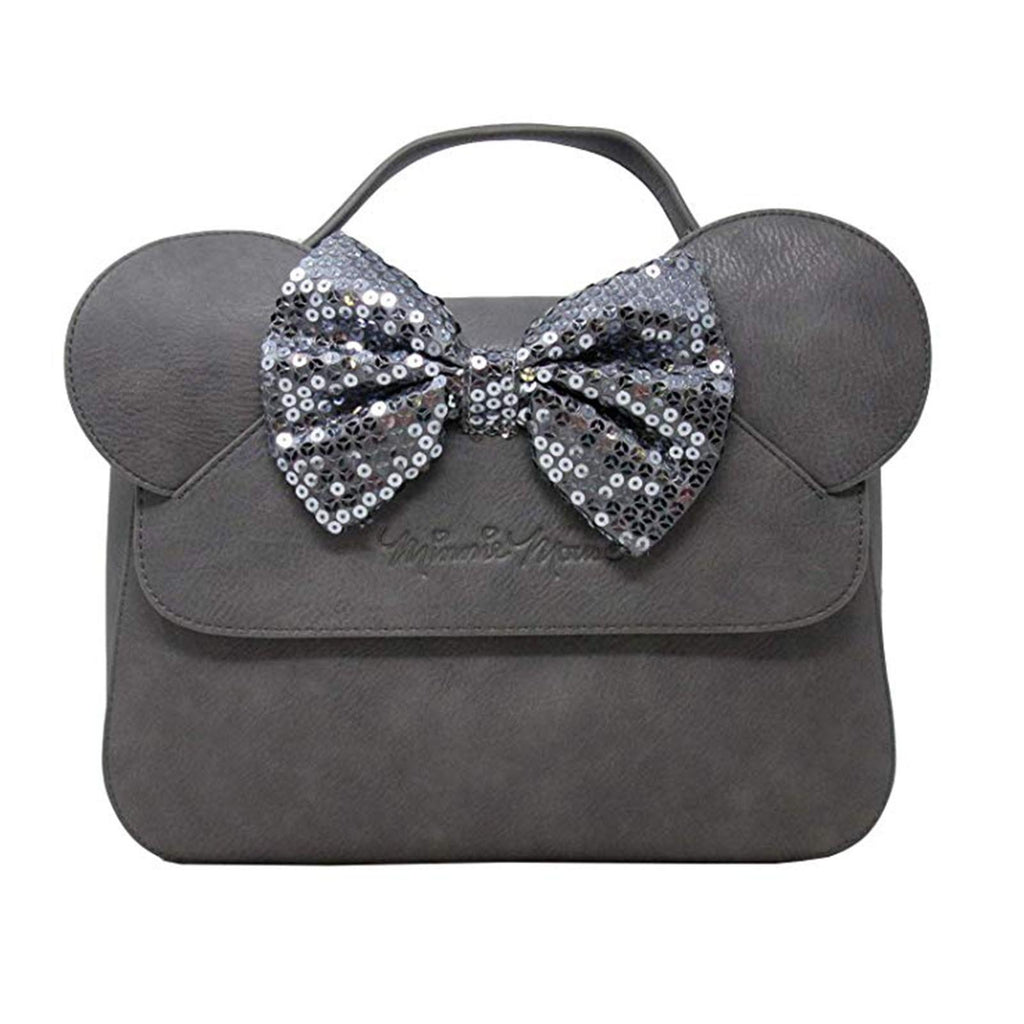 Loungefly Disney Minnie Mouse Sequin Bow Gray Handbag Purse
