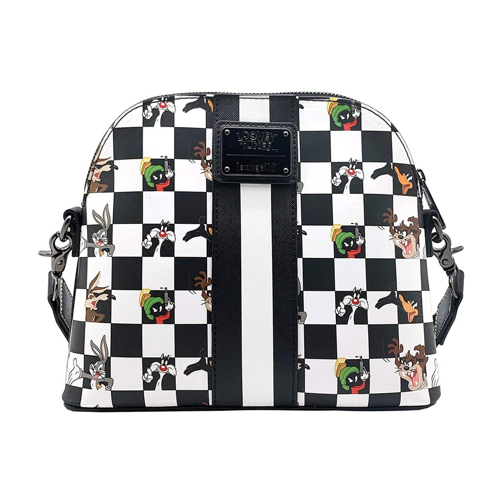 Loungefly Looney Tunes Black And White Checkered Character Crossbody Bag Purse