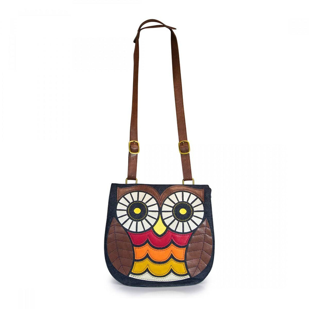 Owl Denim Crossbody Bag