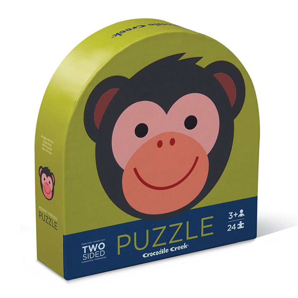 Puzzles - Crocodile Creek Monkey Two Sided 24 Piece Round Puzzle