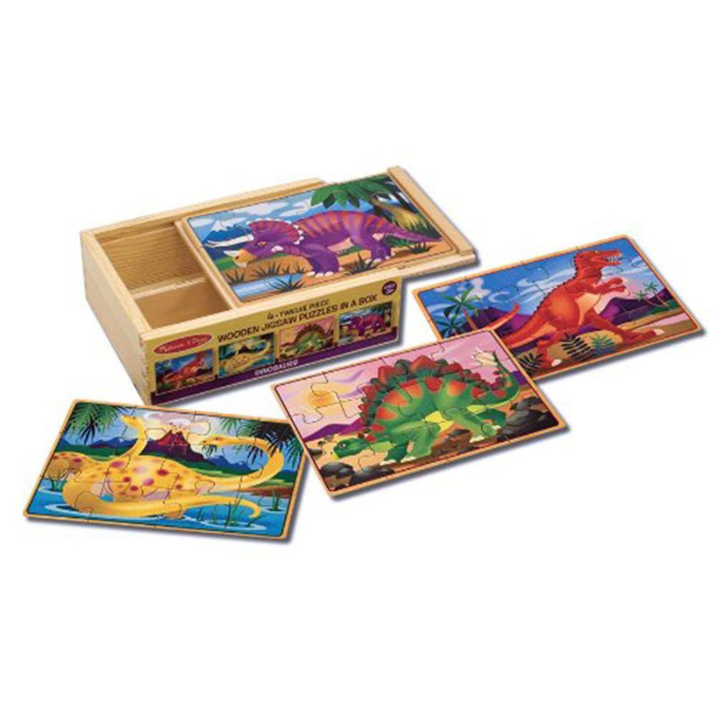 Melissa And Doug Dinosaurs 4 Twelve Piece Wooden Jigsaw Puzzles