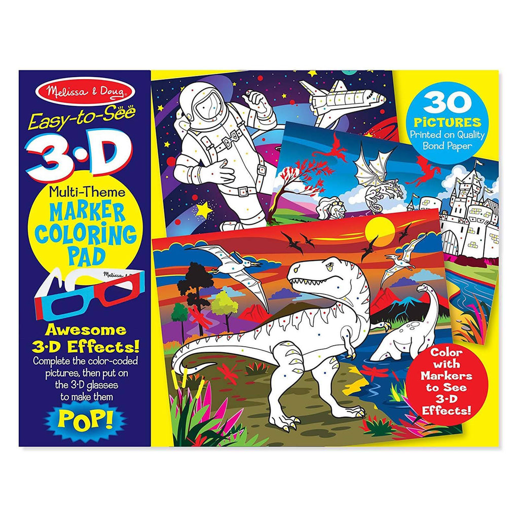 Melissa And Doug Easy To See Blue Multi-Theme 3D Marker Coloring Pad