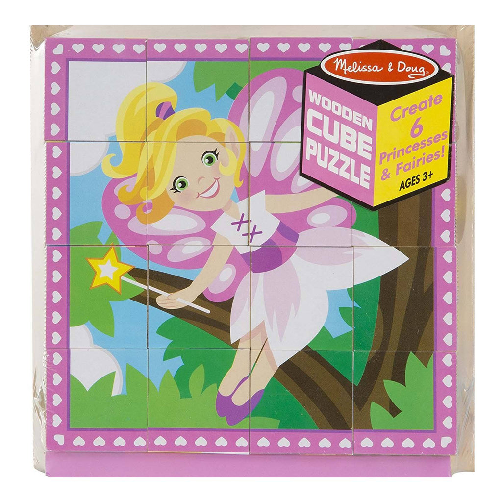 Melissa And Doug Fairy And Princess Scenes Wooden Cube Puzzle