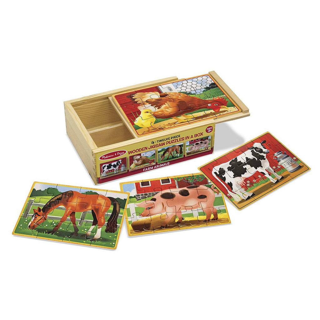 Melissa And Doug Farm Animals 4 In 1 Wooden Jigsaw Puzzles