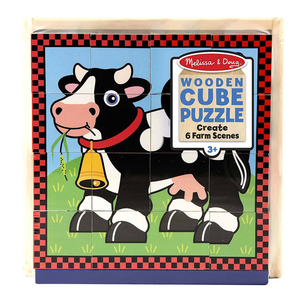 Melissa And Doug Farm Scenes Wooden Cube Puzzle