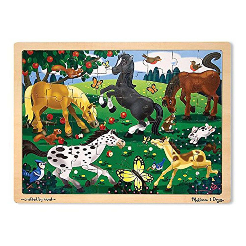Puzzles - Melissa And Doug Fresh Start Frolicking Horses 48 Piece Wooden Jigsaw Puzzle