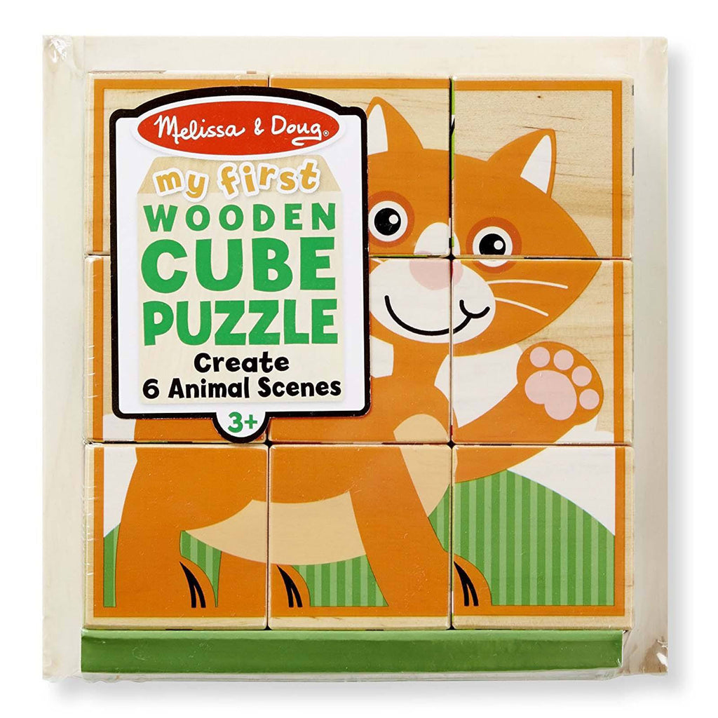 Melissa And Doug My First Animal Scenes Wooden Cube Puzzle