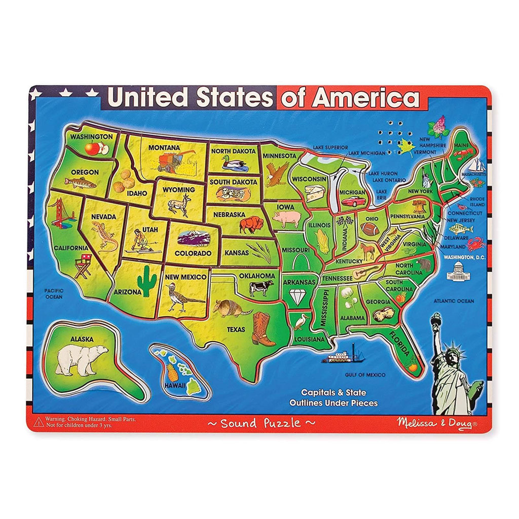 Melissa And Doug USA Map With Sounds Puzzle