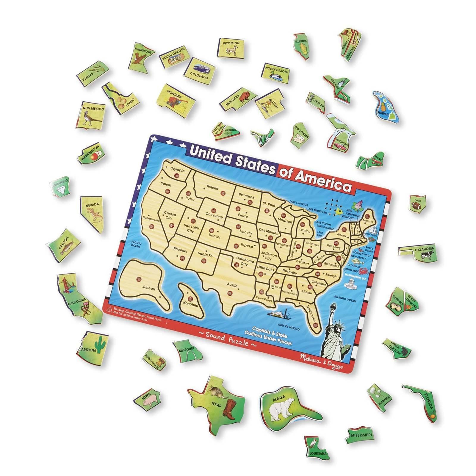 Melissa And Doug USA Map With Sounds Puzzle Traditional Radar Toys - Melissa and doug usa map puzzle