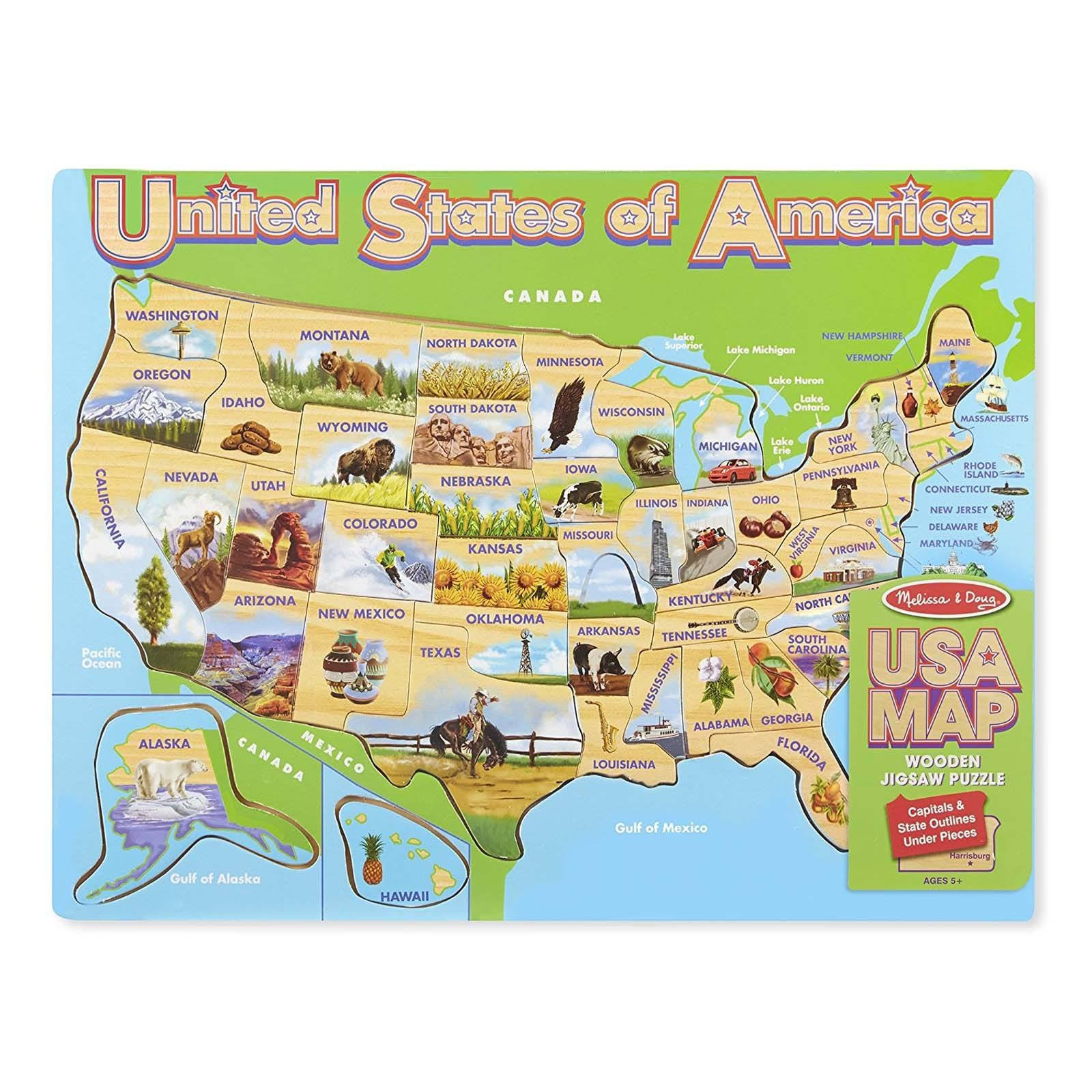 Usa map puzzles melissa and doug world puzzle geography radar toys melissa and doug usa map wooden jigsaw puzzle gumiabroncs Gallery