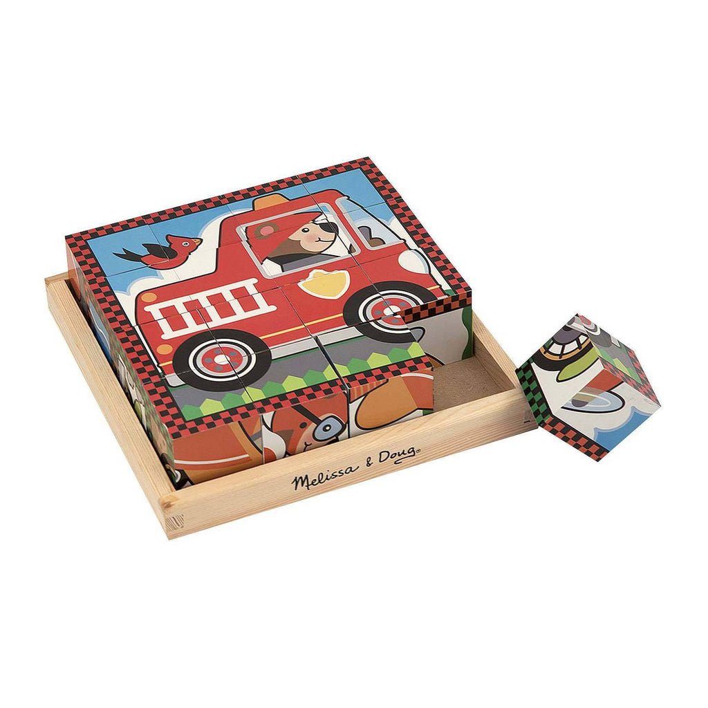 Melissa And Doug Wooden Vehicle Scenes Cube Puzzle