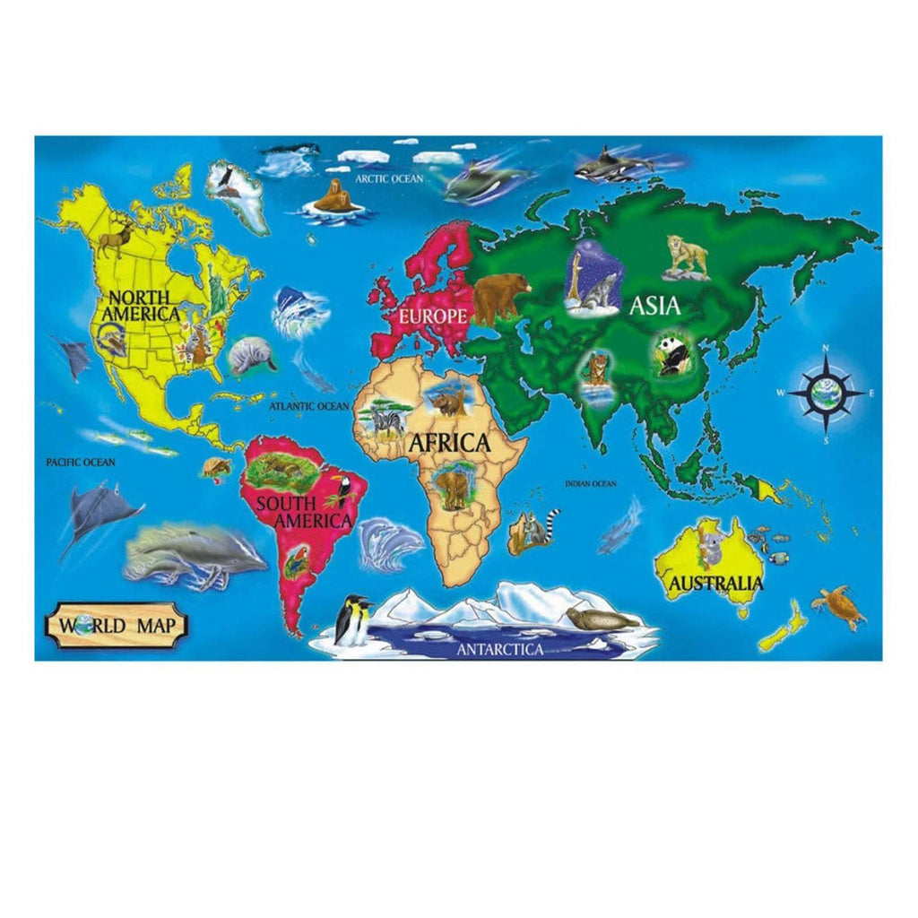 Puzzles - Melissa And Doug World Map 33 Piece Floor Puzzle