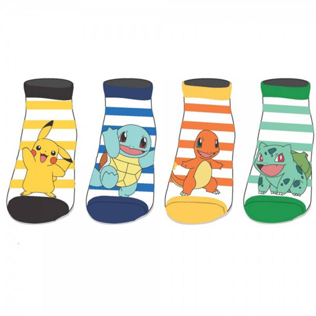 Pokemon Characters Four Pairs Of Ankle Socks