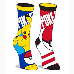 Pokemon Pikachu One Pair Of Reversible Crew Socks - Radar Toys
