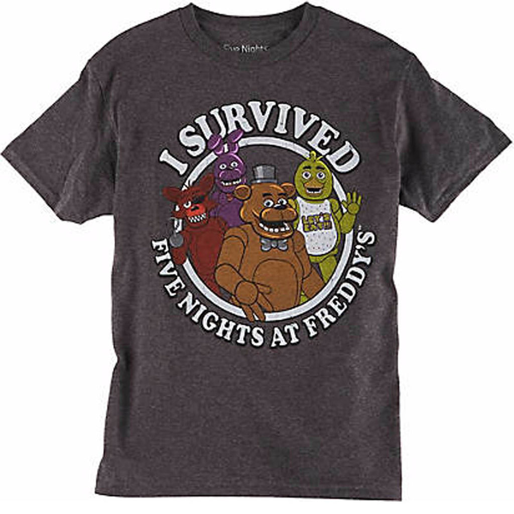 Five Nights At Freddy's I Survived Charcoal Youth Tee