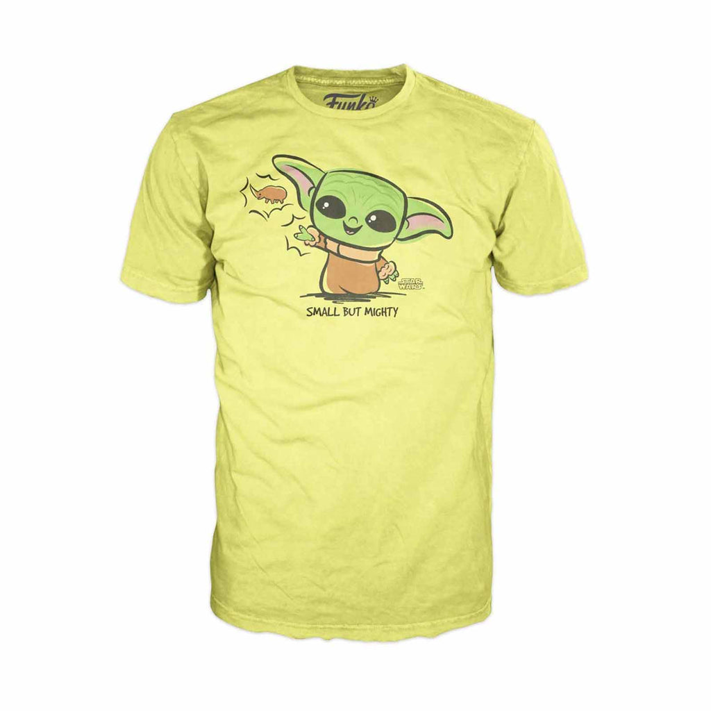 Funko Star Wars Mandalorian The Child Force Yellow Tee Shirt Adult Small