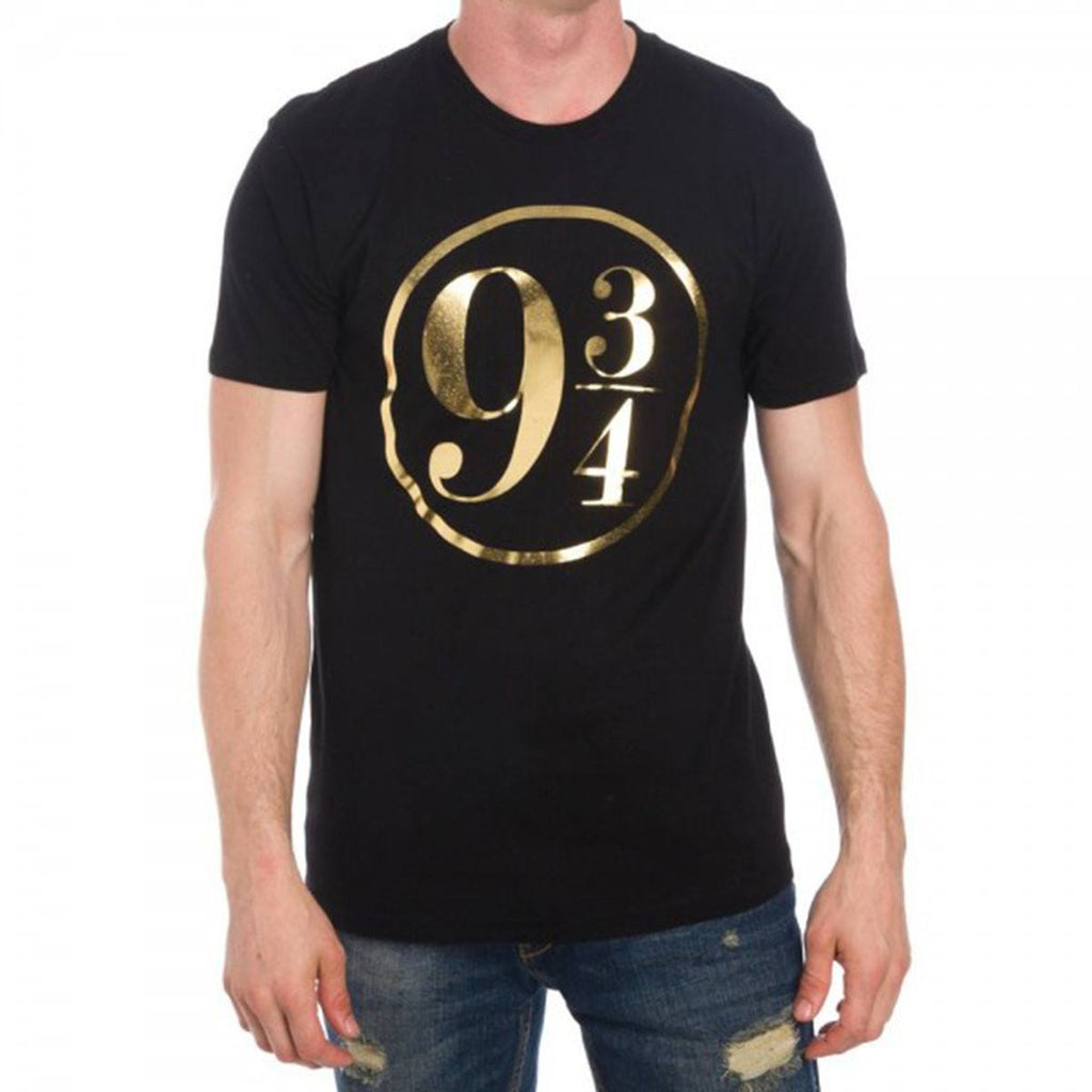 Harry Potter 9 3/4 Gold Foil Logo Men's Black Tee Shirt