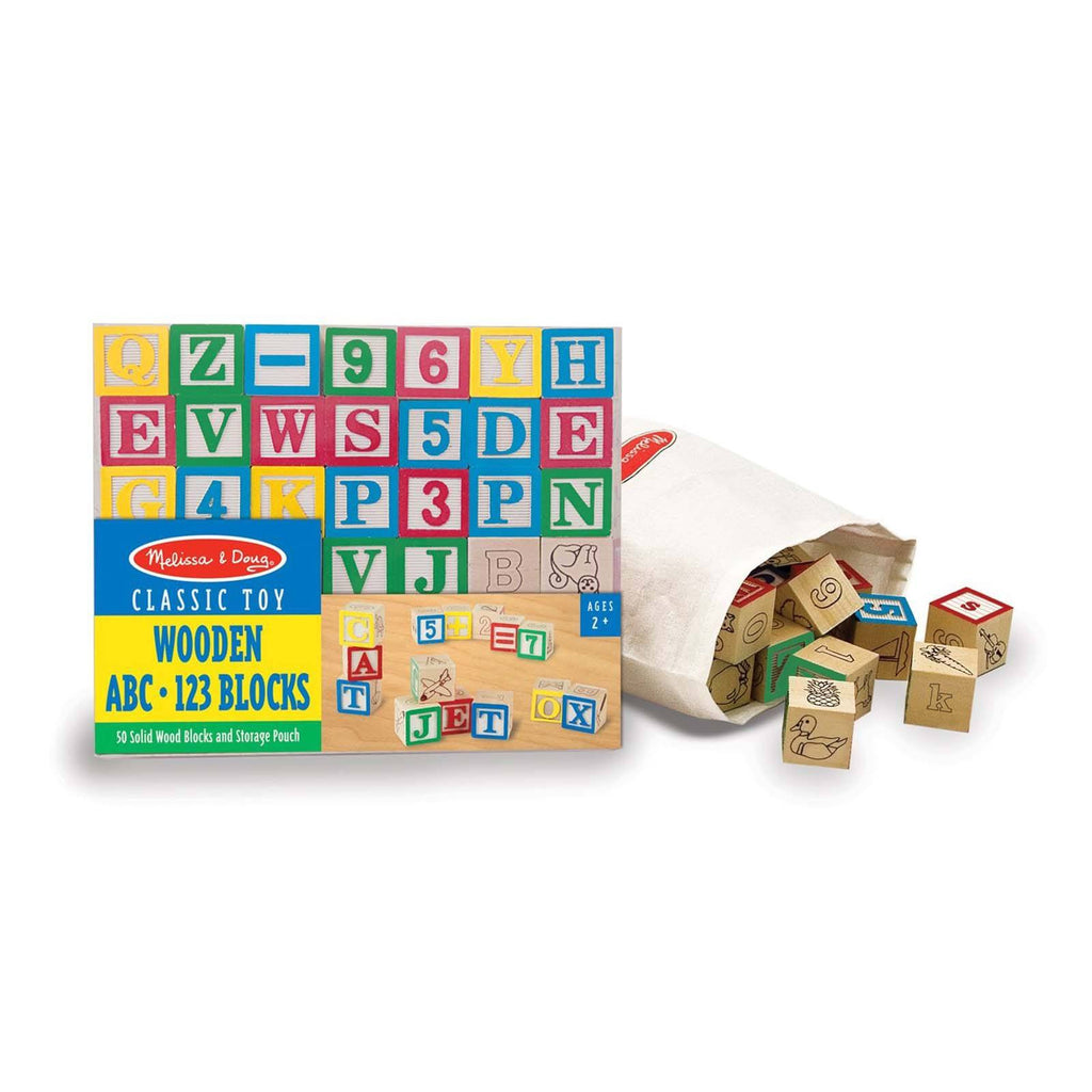 Melissa And Doug Classic Toy Wooden ABC 123 Blocks