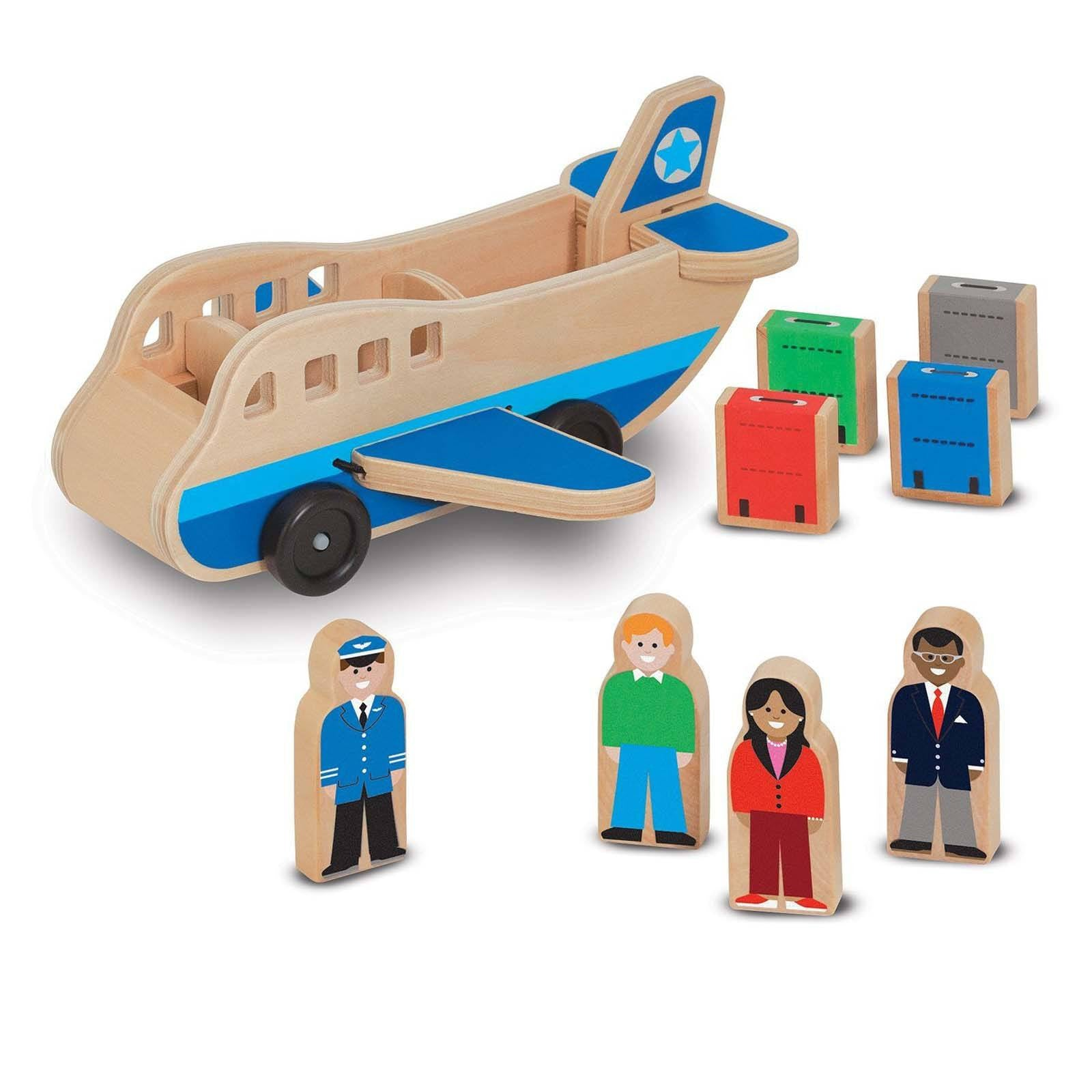 Kids Wooden Vehicles Airplane Set Wooden Plane With Figures
