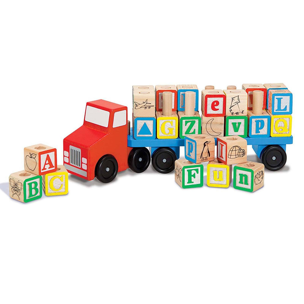 Melissa And Doug Classic Toy Wooden Alphabet Truck Play Set