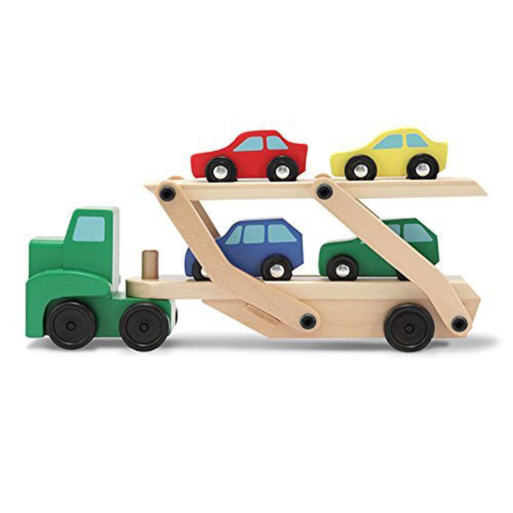 Melissa And Doug Classic Toy Wooden Car Carrier Set