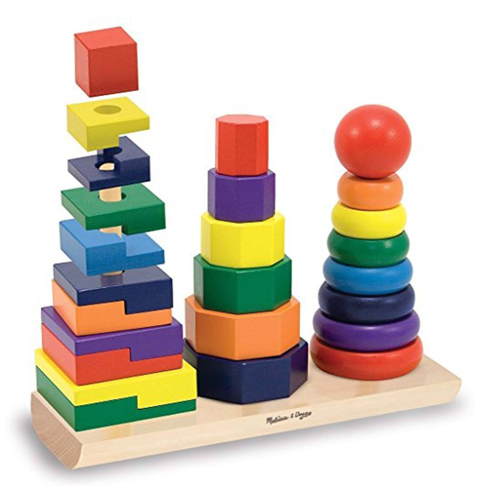Melissa Doug Toys : Geometric stacking blocks toy kid s wooden classic