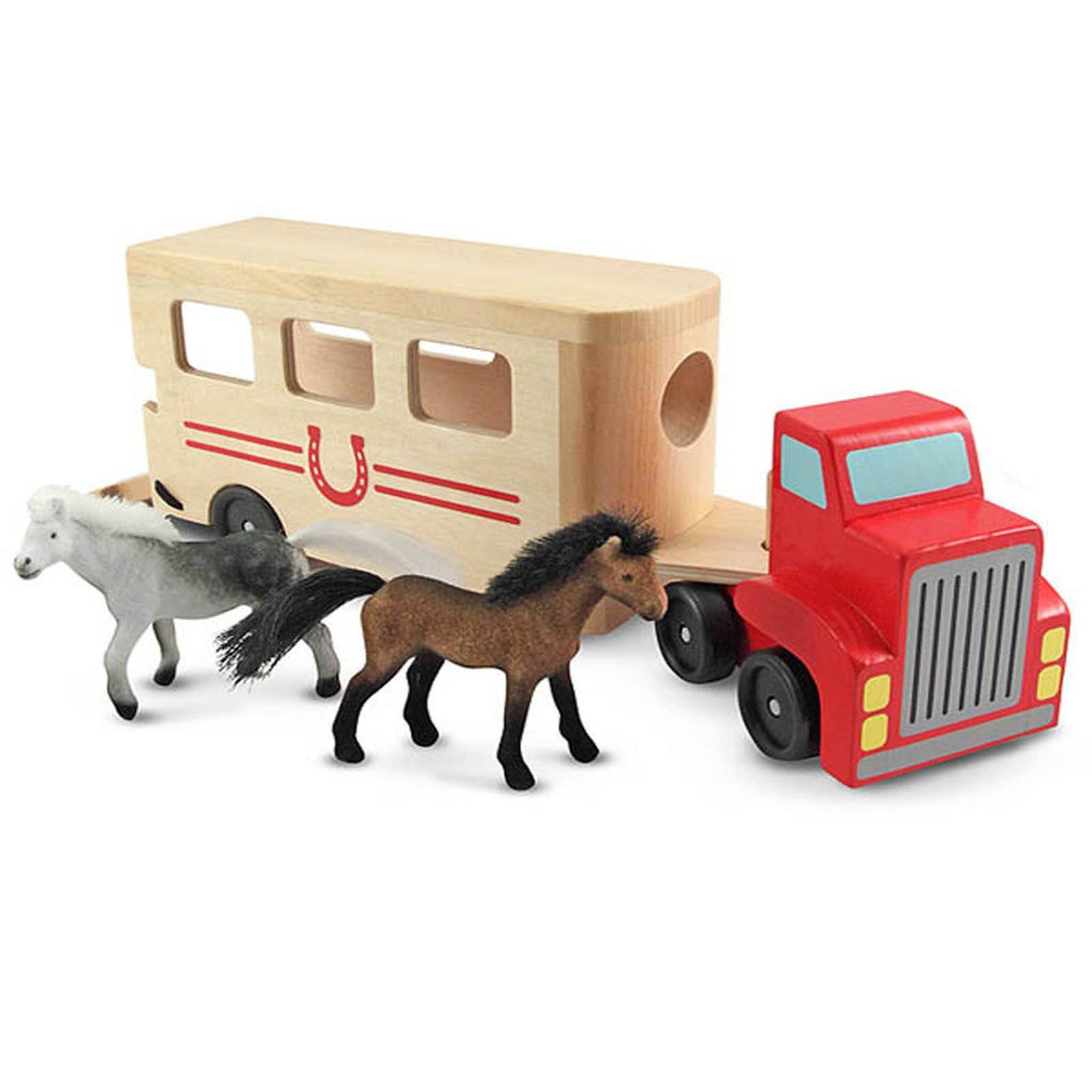 Melissa And Doug Classic Toy Wooden Horse Carrier Play Set