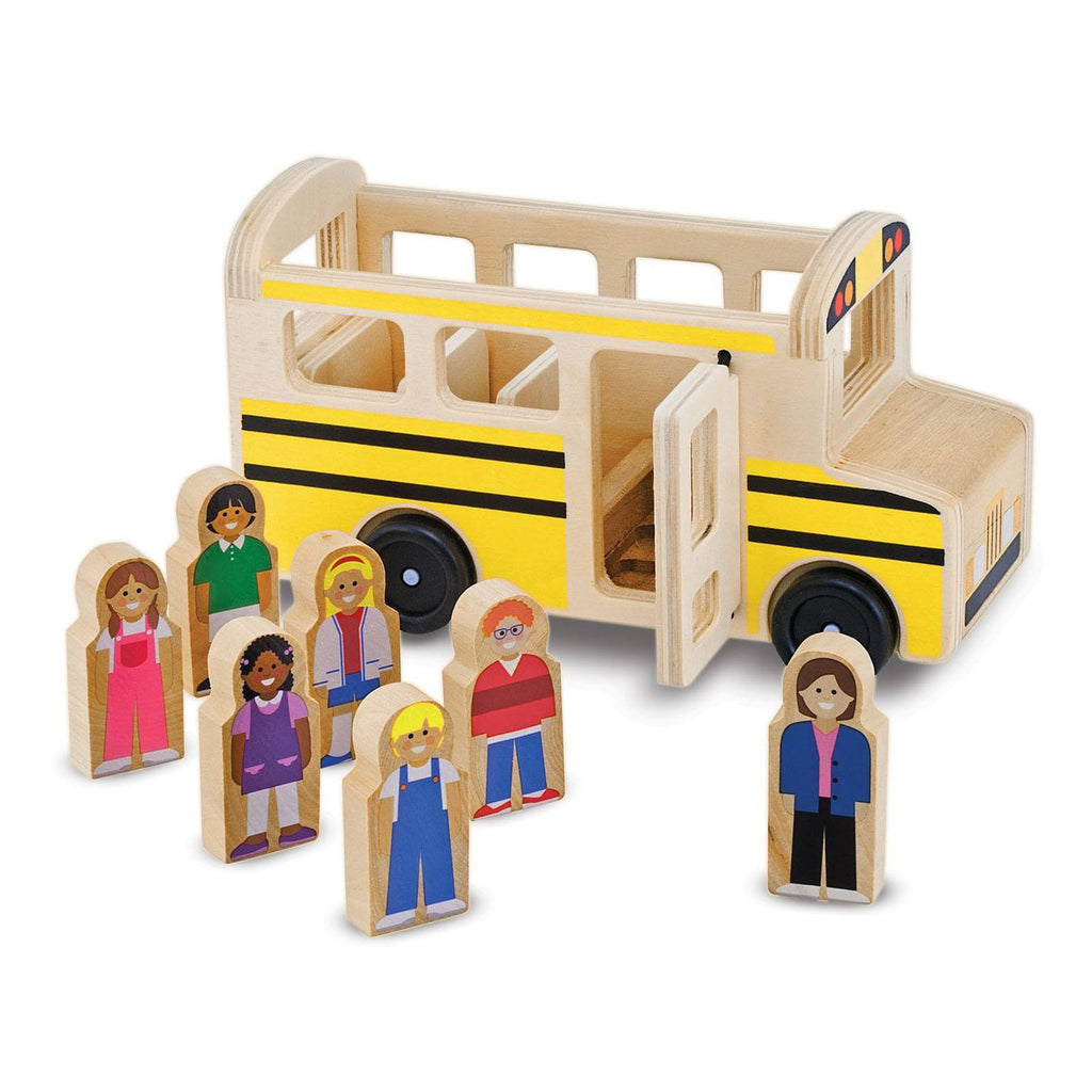 Melissa And Doug Classic Toy Wooden School Bus Play Set
