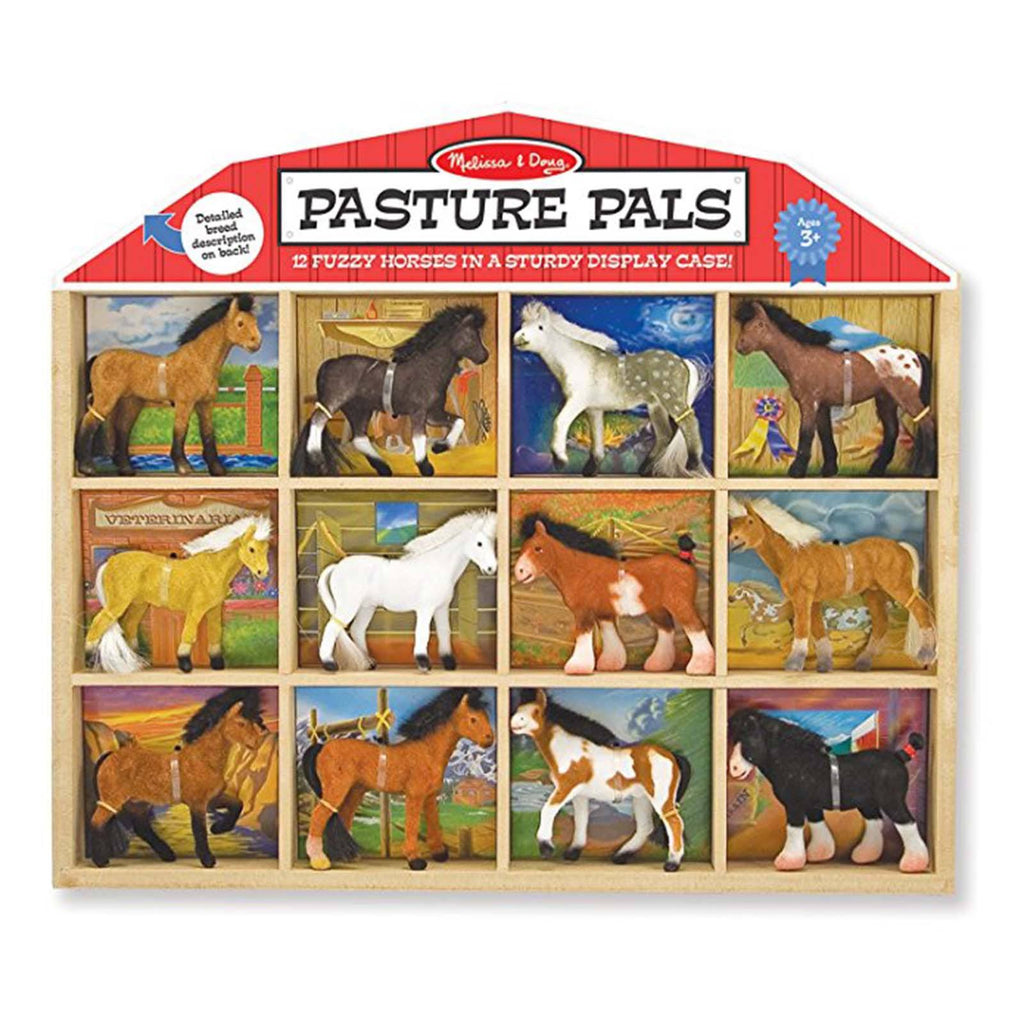 Traditional Toys - Melissa And Doug Pasture Pals 12 Fuzzy Horses Set