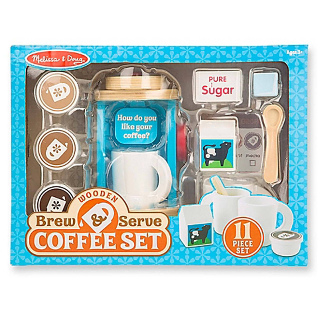 Melissa And Doug Wooden Brew And Serve Coffee Set