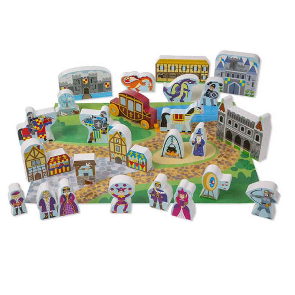 Traditional Toys - Melissa And Doug Wooden Castle 32 Piece Play Set