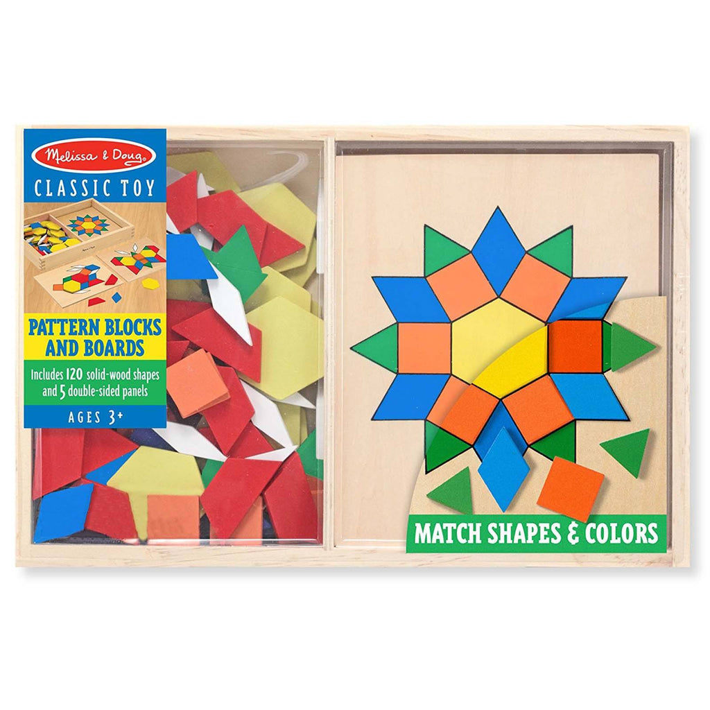 Melissa And Doug Wooden Classic Toy Pattern Blocks And Boards Set