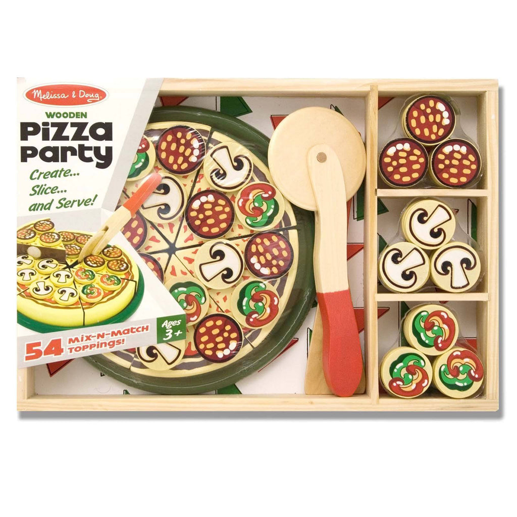 Melissa And Doug Wooden Classic Toy Pizza Party Set