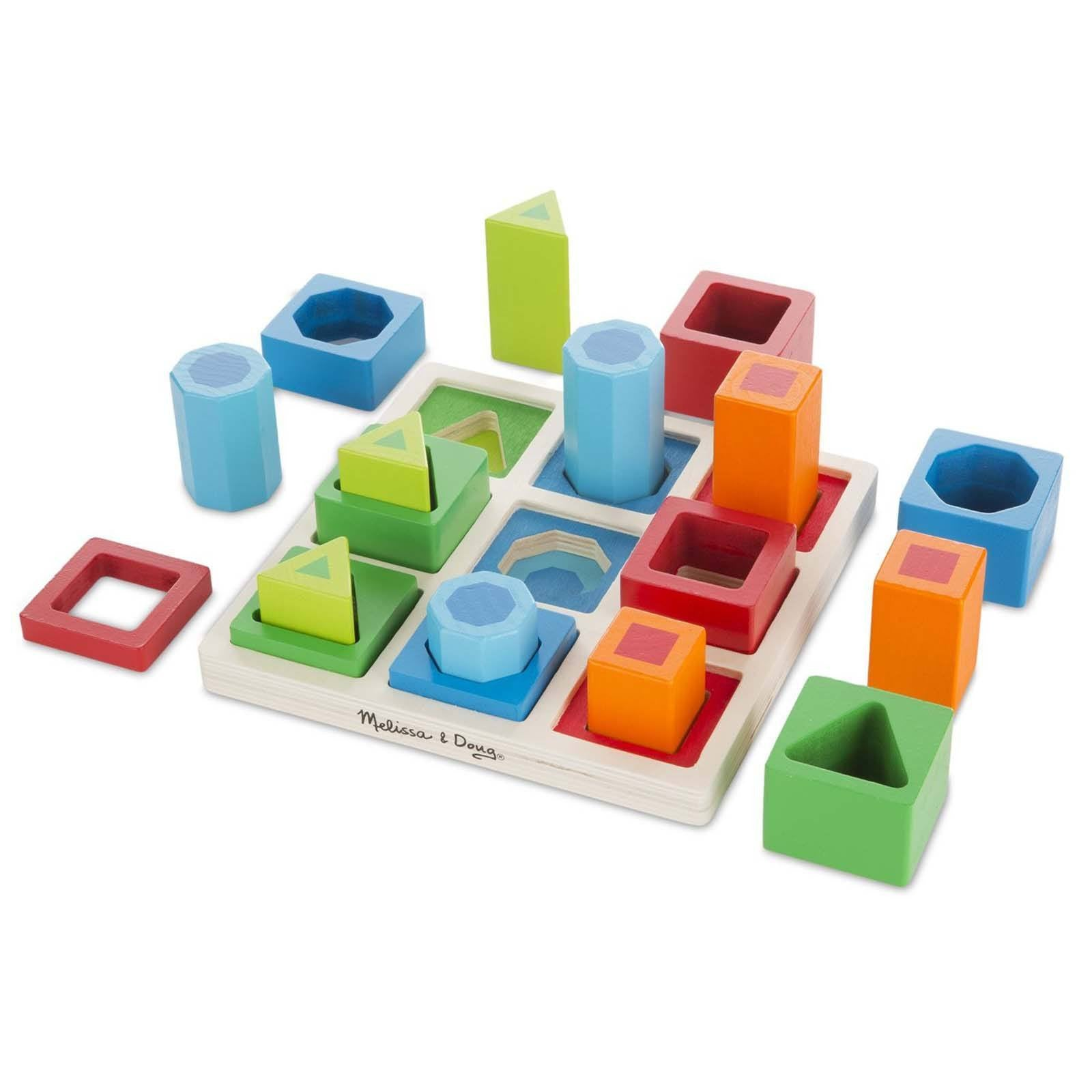 Wooden Toys Classic Shape Sequencing Block Set Kids Blocks