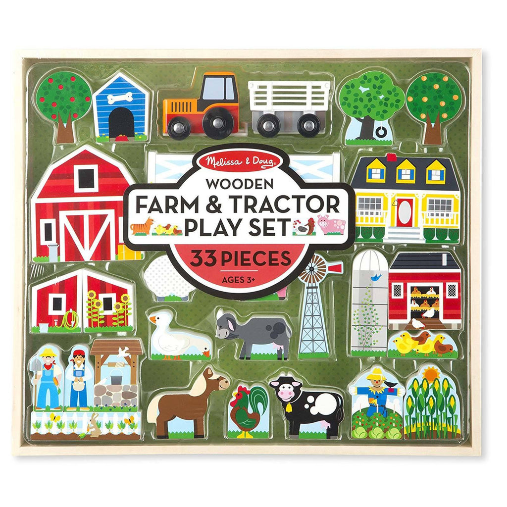 Melissa And Doug Wooden Farm And Tractor Play Set