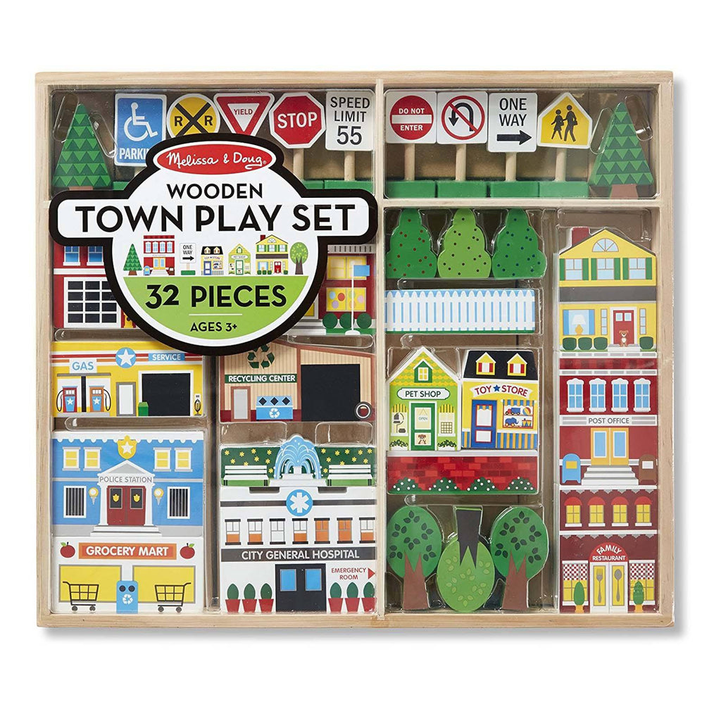 Traditional Toys - Melissa And Doug Wooden Town Play Set