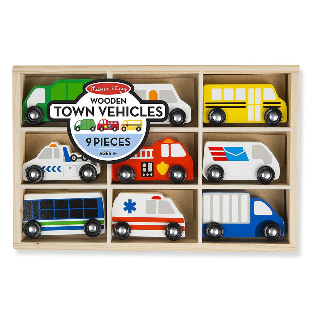 Melissa And Doug Wooden Town Vehicles Play Set