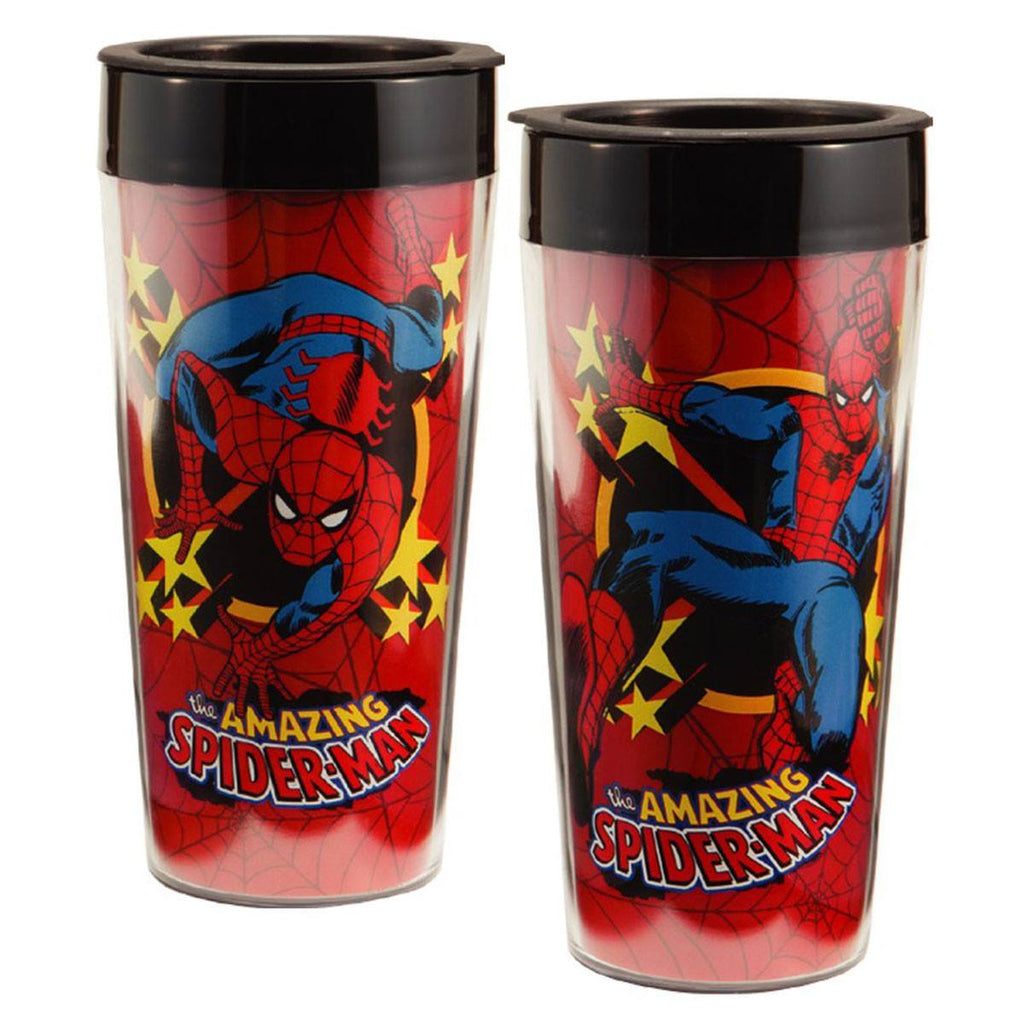 Marvel Amazing Spiderman 16 oz. Plastic Travel Mug - Radar Toys