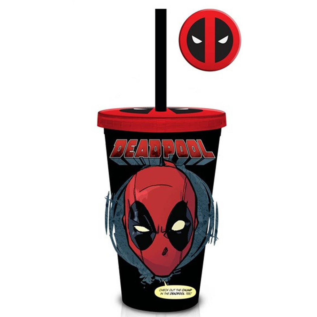 Marvel Black Deadpool 18 oz. Carnival Travel Cup