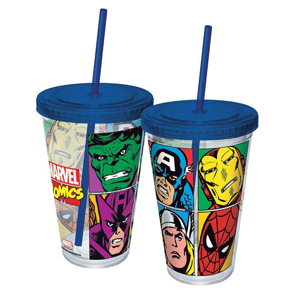 Marvel Comics Grid Blue Acrylic 16 oz. Travel Cup - Radar Toys
