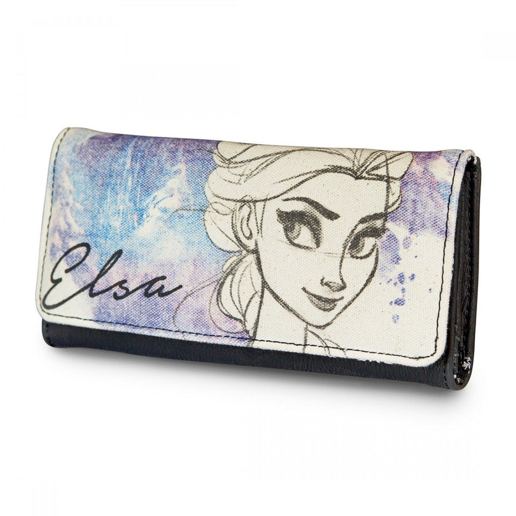 Frozen Elsa Hand Drawn Canvas With Faux Leather Wallet